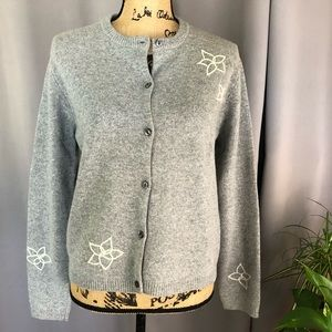 J. CREW Embroidered Lambswool Cardigan